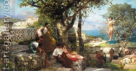 Tight Rope Walker's Audience, Capri by Henryk Hector Siemiradzki - Reproduction Oil Painting