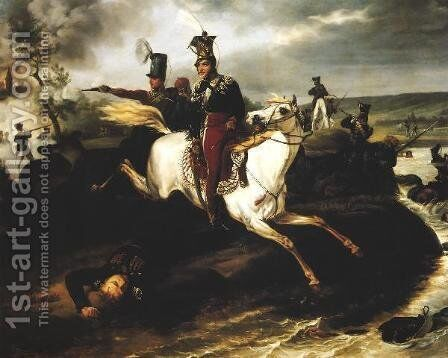 Death of Prince Jozef Poniatowski by January Suchodolski - Reproduction Oil Painting