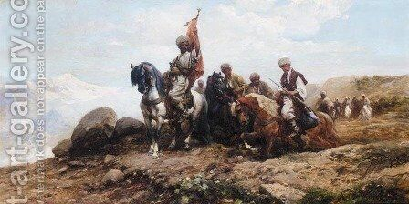 Cossacks Gathering for the Hunt by Michal Gorstkin Wywiorski - Reproduction Oil Painting