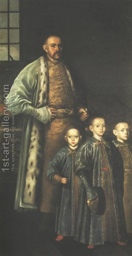 Portrait of Zbigniew Ossolinski and his Sons by - Unknown Painter - Reproduction Oil Painting