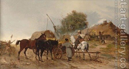 On the Way to the Market by Tadeusz Rybkowski - Reproduction Oil Painting