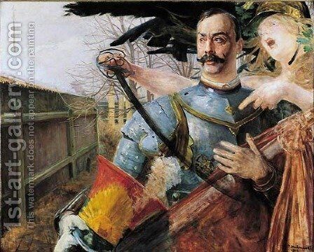Portrait of Wojciech Kossak with Bellona by Jacek Malczewski - Reproduction Oil Painting