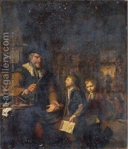 Schoolmaster Chastening Two Boys by Christoffel Lubieniecki - Reproduction Oil Painting
