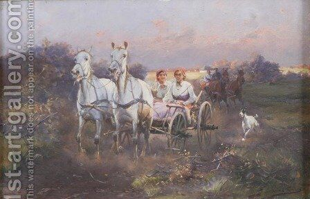 Two of Them by J. Konarski - Reproduction Oil Painting