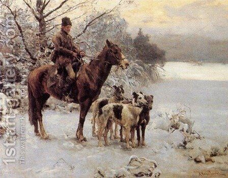 Hunter by Alfred Wierusz-Kowalski - Reproduction Oil Painting