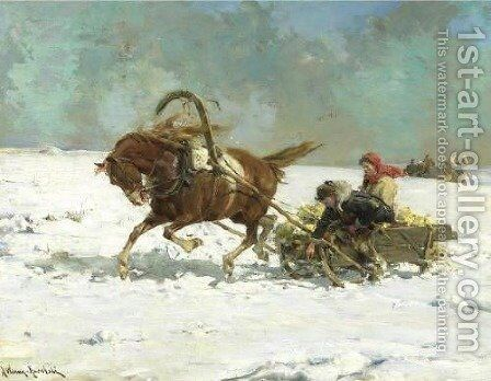 Sleigh by Alfred Wierusz-Kowalski - Reproduction Oil Painting