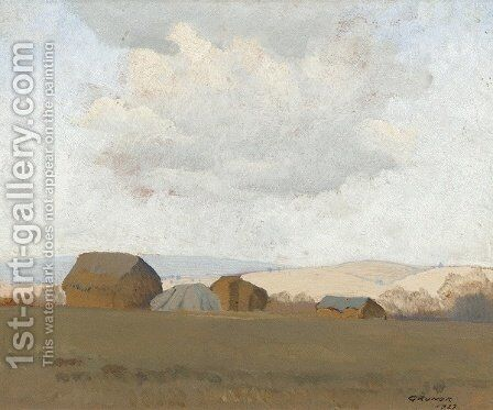 Hay Stacks (Hawkesbury Landscape) by Elioth Gruner - Reproduction Oil Painting