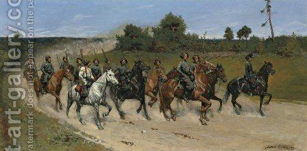 Polish Cavalry by Antoni Piotrowski - Reproduction Oil Painting