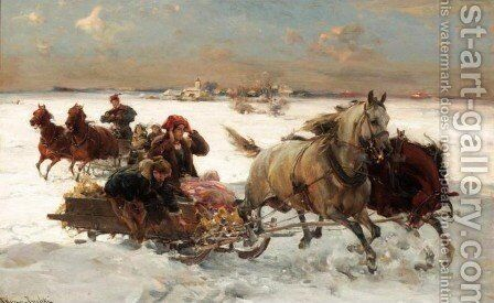 Sleigh Ride by Alfred Wierusz-Kowalski - Reproduction Oil Painting