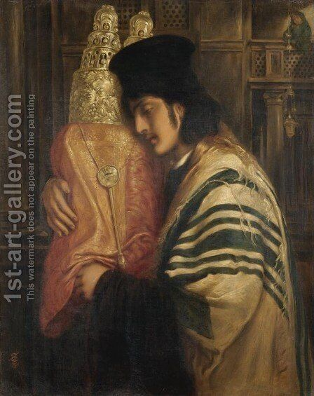 Rabbi Carrying the Law by Simeon Solomon - Reproduction Oil Painting