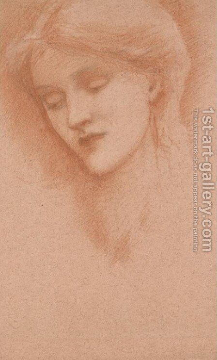 Head of a Girl 3 by Sir Edward Coley Burne-Jones - Reproduction Oil Painting