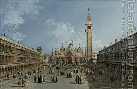 Piazza San Marco, Venice by Bernardo Bellotto (Canaletto) - Reproduction Oil Painting