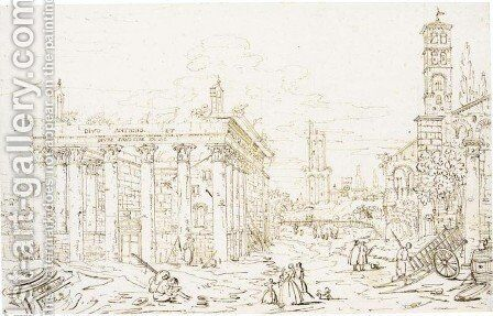 Roman Forum, with the Temple of Antoninus and Faustina by Bernardo Bellotto (Canaletto) - Reproduction Oil Painting