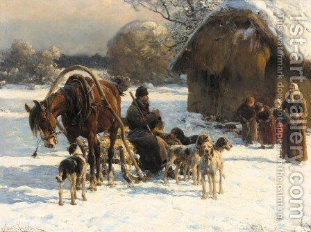 Welcoming Party by Alfred Wierusz-Kowalski - Reproduction Oil Painting