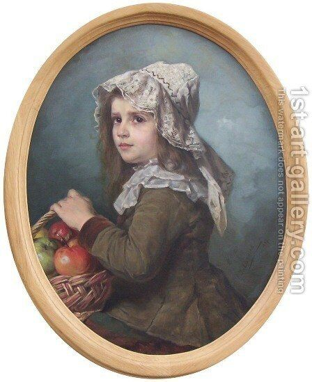 Portrait of a Girl by Emilia Dukszynska-Dukszta - Reproduction Oil Painting