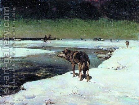 Wolf at Night (Wolfe in der Nacht) by Alfred Wierusz-Kowalski - Reproduction Oil Painting