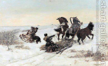 Sledge Attacked by Wolves by Bodhan Von Kleczynski - Reproduction Oil Painting
