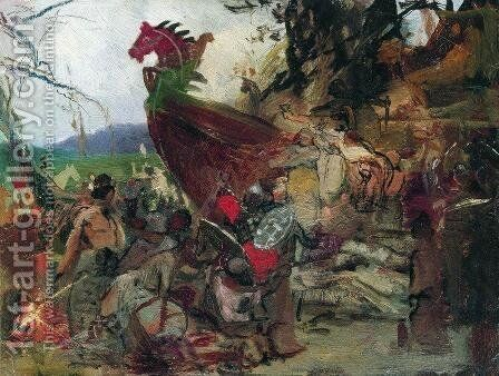Sketch for Rus Burial in Bulgaria by Henryk Hector Siemiradzki - Reproduction Oil Painting