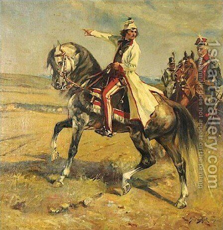 Officers on Horseback by Jan Styka - Reproduction Oil Painting