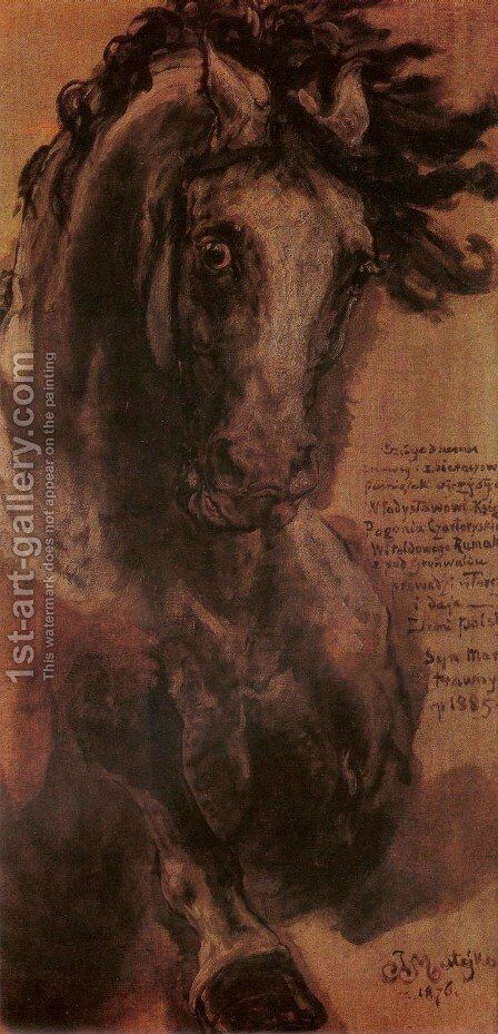Horse Study I by Jan Matejko - Reproduction Oil Painting