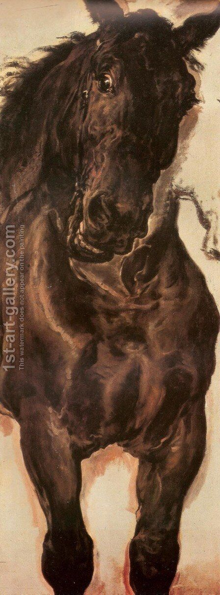 Horse Study II by Jan Matejko - Reproduction Oil Painting