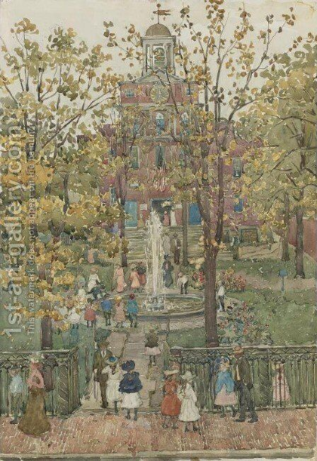 West Church, Boston I by Maurice Brazil Prendergast - Reproduction Oil Painting