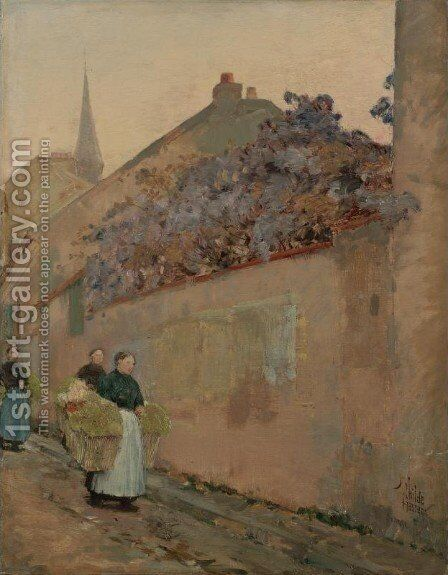 Street Scene in Sannois by Childe Hassam - Reproduction Oil Painting