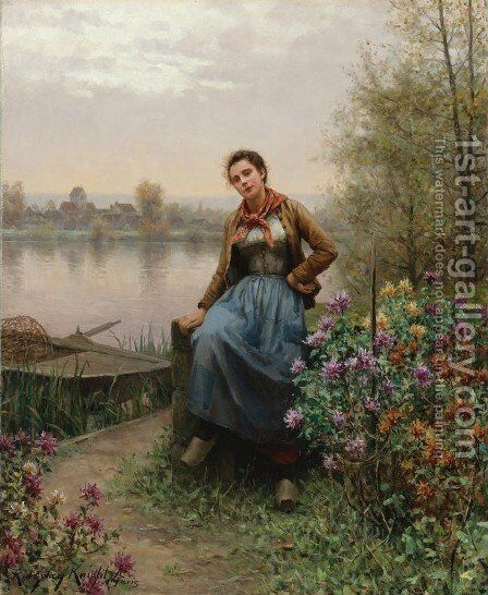 On the River's Edge by Daniel Ridgway Knight - Reproduction Oil Painting