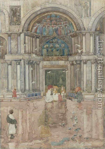Porch with the Old Mosaics, St. Marks, Venice by Maurice Brazil Prendergast - Reproduction Oil Painting