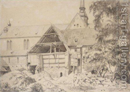 Church and Farmhouse (Kirche und Bauernhof) by Adolph von Menzel - Reproduction Oil Painting