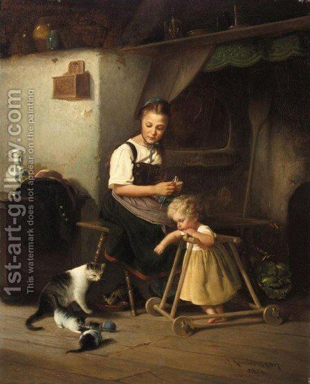 First Steps (Die Ersten Schritte) by Adolph Kindermann - Reproduction Oil Painting