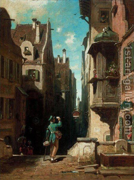 Postman (Der Postbote) by Carl Spitzweg - Reproduction Oil Painting