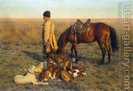 Kossack Hunter and his Hounds (Steppenreiter) by Hugo Ungewitter - Reproduction Oil Painting
