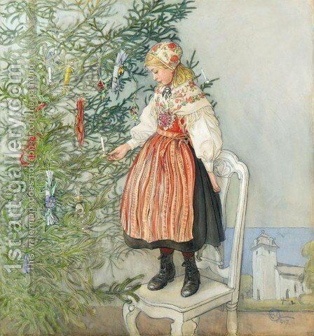 Decorating the Tree (Julgranskonfekt) by Carl Larsson - Reproduction Oil Painting