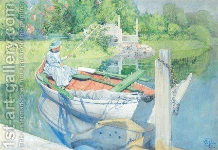 Fishing (Napp) by Carl Larsson - Reproduction Oil Painting