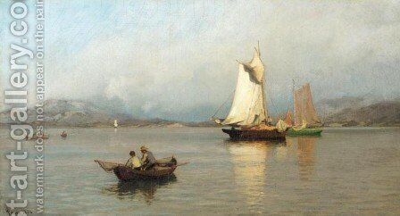 Fishing Boats off the Coast (Fiskebater ved kysten) by Hans Fredrik Gude - Reproduction Oil Painting