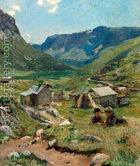 Summer Day: View of the Valley at Skogstad (Sommerdag, utsikt over dalen ved Skogstad) by Eilif Peterssen - Reproduction Oil Painting