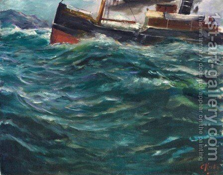Ship in Stormy Weather (Skip i stormvaer) by Christian Krohg - Reproduction Oil Painting