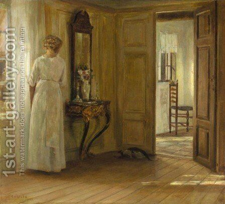 Interior with a Lady and a Cat (Interieur med kvinde og kat) by Carl Holsoe - Reproduction Oil Painting