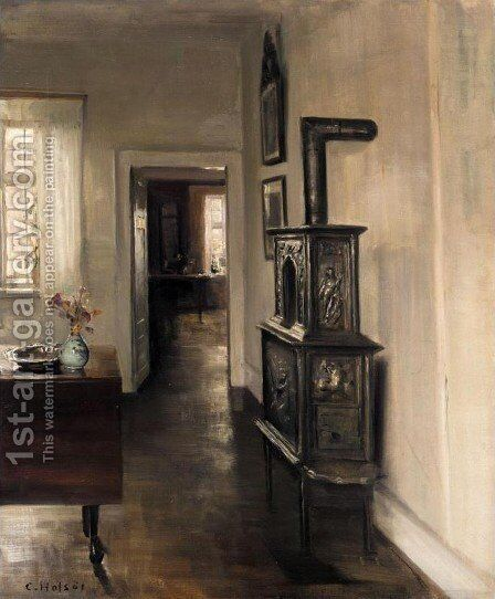 Interior with a Stove (Interieur med pejs) by Carl Holsoe - Reproduction Oil Painting