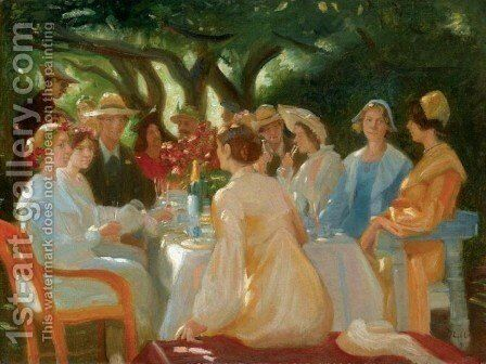 Actors Lunch, Skagen (Skuespillerfrokost) by Michael Peter Ancher - Reproduction Oil Painting