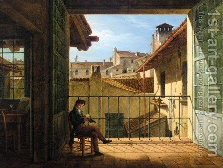 View over Roman Rooftops (Udsigt over Roms tage) by Constantin Hansen - Reproduction Oil Painting