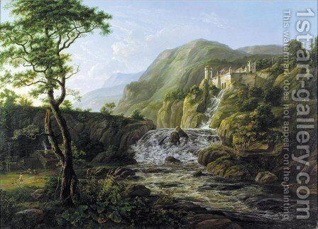 Mountain Landscape with a Castle (Fjell landskap med slott) by Johan Christian Clausen Dahl - Reproduction Oil Painting