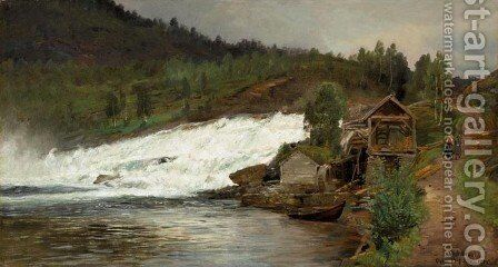 Waterfall at Osen (Foss ved Osen) by Anders Monsen Askevold - Reproduction Oil Painting