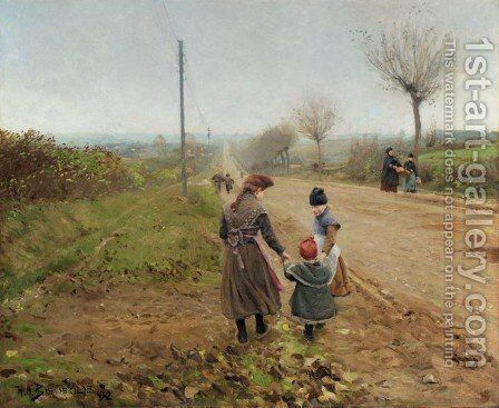 Children on a Country Road (Born pa landevej) by Hans Anderson Brendekilde - Reproduction Oil Painting