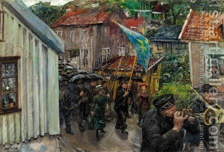 Procession of the Abstemious (Totalistenes sondagsutflukt) by Christian Krohg - Reproduction Oil Painting