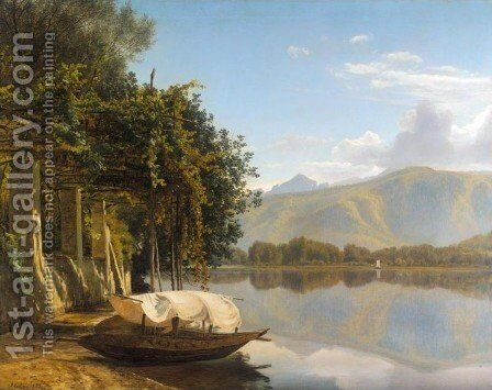 Lake Lugano at Pont Tresa (Lugano soen ved Pont Tresa) by Janus Andreas Bartholin La Cour - Reproduction Oil Painting