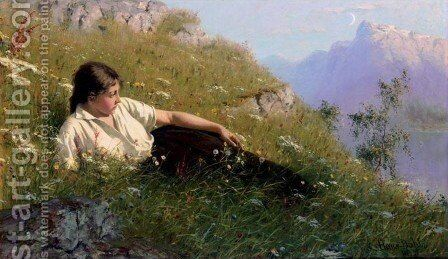 Resting Beside the Fjord (Huile ved Fjorden) by Hans Dahl - Reproduction Oil Painting
