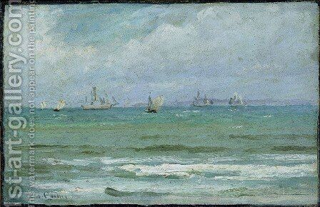 Coastal landscape with sailing ships, probably from Hornbaek by Carl Locher - Reproduction Oil Painting