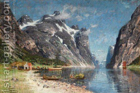Norwegian Fjord (En Norsk fjord) by Adelsteen Normann - Reproduction Oil Painting